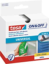 tesa On & Off General Purpose Stick on Tape, 2.5m x 20mm, wit