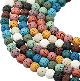 SUNYIK Colorful Lava Rock Essential Oil Diffuser Stone Loose Bead for Jewelry Making 8mm Round 14