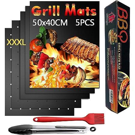 Nifogo Tapis de Barbecue Cuisson Mat 50x40cm & Pince & Brosse, Antiadhésif Réutilisable Nettoyage Facile pour BBQ/Fours/Charbon de Bois/Gaz/Grill Electrique (5PCS)