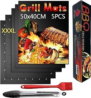 Nifogo Tapis de Barbecue Cuisson Mat 50x40cm & Pince & Brosse, Antiadhésif Réutilisable Nettoyage Facile pour BBQ/Fours/Ch...