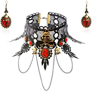 ETERNITY J. Black Lace Skull Gothic Pendant Choker Necklace Earrings Set for Halloween Costume Party