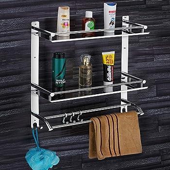 Plantex Elegant-Plus High Grade Stainless Steel Multipurpose 3 Tier Bathroom Shelf with Towel Holder/Towel Hooks/Bathroom Accessories Wall-Mount (Chrome Finish)