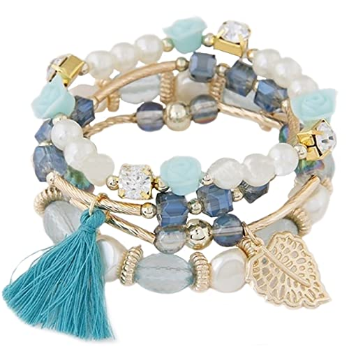 RareLove Blue Turquoise Stone Bell Two Layer Charm Beads Boho Ankle Bracelet Foot Beach Jewelry for Women Girls