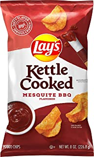 Lay's Kettle Cooked Mesquite Barbecue Flavored Potato Chips, 8 Ounce