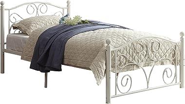 Homelegance Pallina Metal Platform Bed, Twin, White