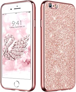 DUEDUE iPhone 6 Case Bling,iPhone 6S Case,Slim Hybrid Hard PC Cover Shockproof Non-Slip,Glitter Full Body Protective Phone Cover Case for iPhone 6/iPhone 6S for Women/Girls,Rose Gold