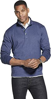 Van Heusen Men's Long Sleeve Never Tuck Jaspe Button Mock Pullover