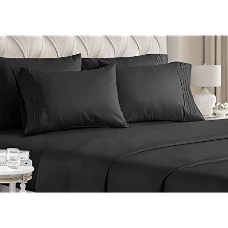 Extra Soft and Comfortable Winkle Guken Bedding Fitted Sheet Deep Pocket Sanded Microfiber Fabric Fitted Sheet with Elastic All Around Bed,Breathable Stain Resistant(Black,King) Fade