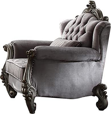 Benjara Traditional Fabric Upholstered Wooden Chair with Tufted Details, Gray
