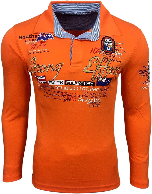 Herren Safran Polo Longsleeve Shirt von B/&C LSL PU414/_230 in XXL pumpkin orange