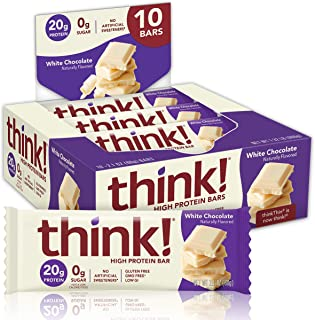 Think Thin Think Thin- Barra De Proteína Sabor Chocolate Blanco 60g (10 Pack), color Multicolor, 60 gram, pack of/paquete de 1