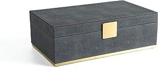 WV Faux Dark Grey Shagreen Leather Dresser Organizer,Night Stand Organizer, Storage Box,Jewelry Box for Men's Accessories,...