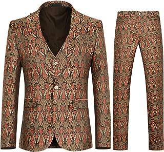 Men's Floral 3 Piece Suit Slim Fit Stylish Dinner Party Dress