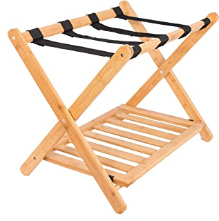 BirdRock Home Luggage Rack Stand with Shoe Shelf - Compact Folding Design - Bedroom Guest Room Suitcase Home Organization - Stable Durable Suitcases Racks Foldable Baggage Holder - Bamboo Natural