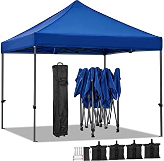 YAHEETECH 10x10 Pop up Canopy Tent - Commercial Instant Canopy Camping Canopy, Heavy Duty Waterproof Adjustable, with Wheeled Bag, Canopy Sandbags x4, Tent Stakesx4 - Navy Blue