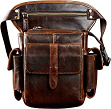 Le'aokuu Mens Leather Cycling Waist Fanny Pack Drop Leg Bag (Coffee 2)