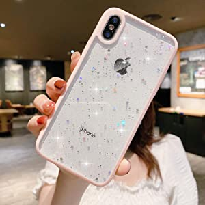"""Compatible with iPhone XR Case for Girls,Soft Slim Fit Full-Around Protective Cute Clear Sparkly Bling Star Phone Case Glitter Cover for iPhone XR(6.1"""")-Pink"""
