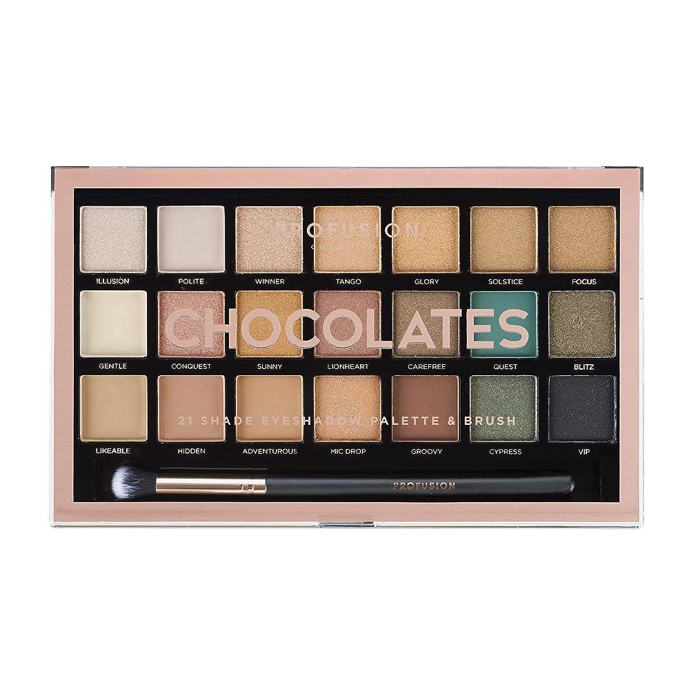 手綱振るご覧くださいProfusion Cosmetics 21シェードアイシャドーパレットコレクション&ブラシ, Chocolates