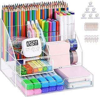 منظم مكتب أكريليك مطور من ماربراس، منظم أقلام شفاف للمكتب، منظم كمبيوتر متكامل مع حامل أقلام للمكتب والمدرسة واللوازم الفن...