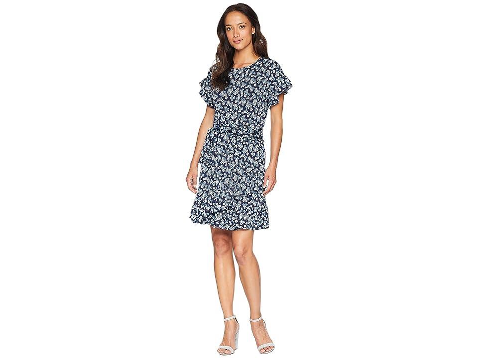 MICHAEL Michael Kors Cherry Ruffle Wrap Dress (True Navy/Light Chambray) Women