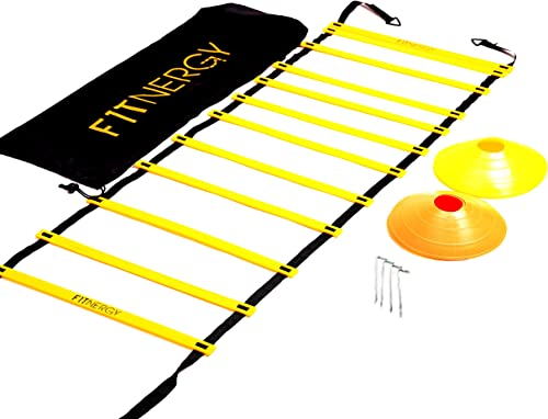 F1TNERGY Speed and Agility Ladder Training Equipment Yellow 12 Rung Ladder Free Carrying Bag + 10 Speed Cones (5 Oran...