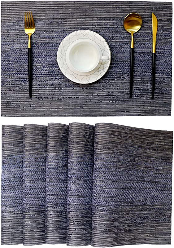 One Boat Placemats For Dinging Table PVC Table Mats Placemat Set Of 6 Heat Resistant Tablemats Non Slip Washable Kitchen Mats 6 Dark Blue