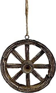 Old Wagon Wheel Resin Stone Christmas Ornament