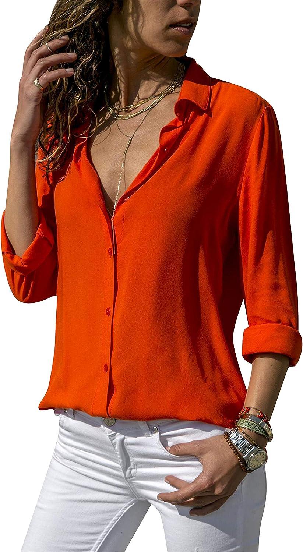 DIACACY Women's Long Sleeve V Neck Chiffon Blouses Tops Button Down Business Shirts