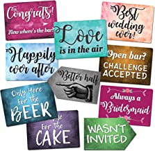 Plastic Photo Booth Prop Signs - Set of 10 Phrases - WEDDING Mix