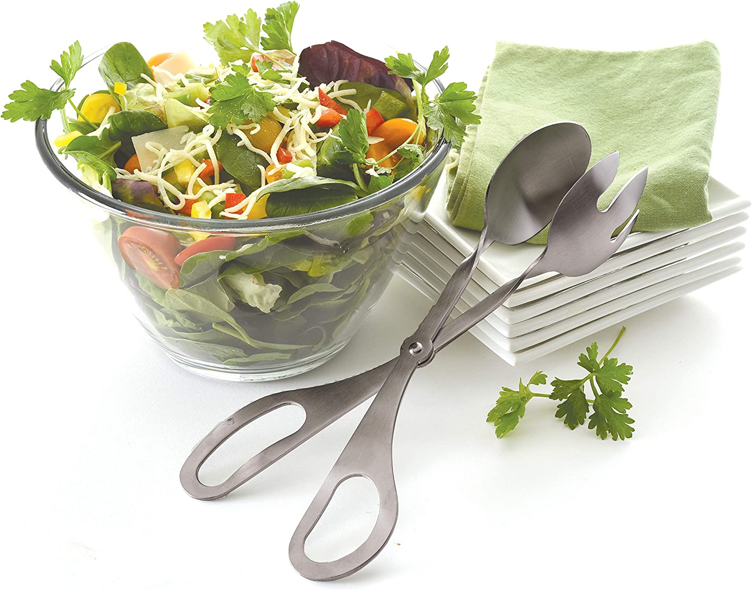 Norpro 18//10 Stainless Steel Deluxe Salad Tongs For Tossing And Serving  1967