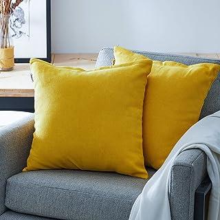 comprar comparacion Topfinel juego 2 Hogar Algodón Lino Decorativa Almohadas Fundas de Color sólido para Sala de Estar sofás Amarillo 45x45cm