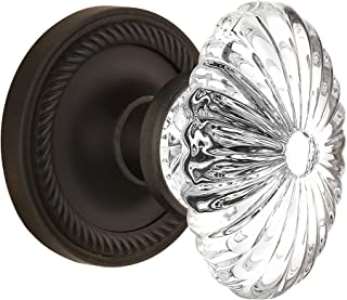 "Nostalgic Warehouse Rope Rosette with Oval Fluted Crystal Glass Knob, Mortise - 2.25"", Oil Rubbed Bronze"
