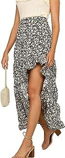 ECOWISH Womens Floral Skirt Elastic Waist Boho Ruffle Hem Maxi Long Dress High Low Cotton Skirts