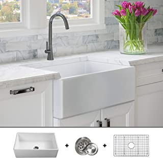 Luxury 30 inch Solid (NOT HOLLOW), Ultra-Fine Fireclay Modern Farmhouse Kitchen Sink in White, Single Bowl, Flat Front, includes Grid and Drain, FSW1001 by Fossil Blu