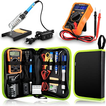 Anbes Soldering Iron Kit 60W Adjustable Temperature Welding Tool,Digital Multimeter,2pcs Soldering Iron