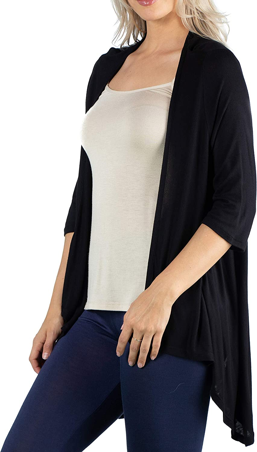 24seven Comfort Apparel Womens Lightweight Elbow Length 3/4 Sleeve Open Front Draped Cardigan Shrug Made in USA -Small-1X
