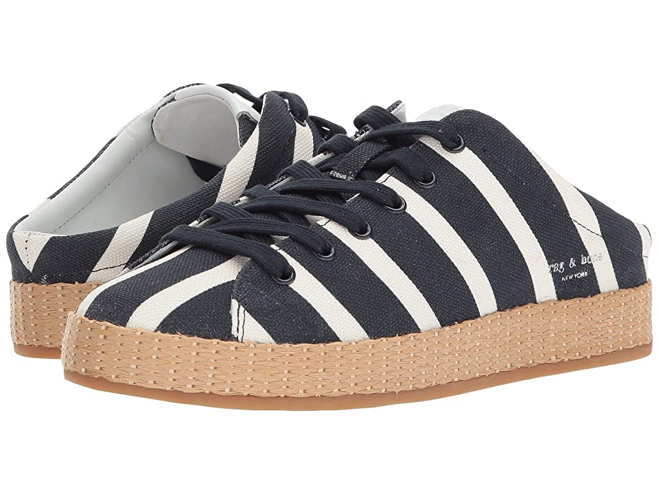 rag & bone RB1 Mule (Black/White Stripe Canvas) Women