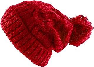 Thick Crochet Knit Pom Pom Beanie Winter Ski Hat
