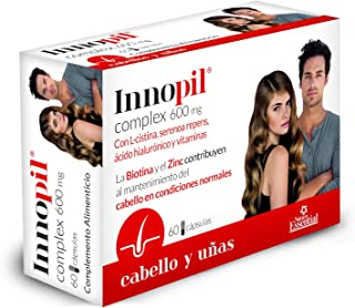 Innopil® complex 600 mg con L-cistina. serenoa repens. ácido hialurónico y vitaminas - 60 cápsulas. Para fortalecer y frenar la caída