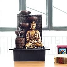 eCraftIndia Great Lord Buddha Polystone Water Fountain (31 cm x 23 cm x 41 cm, Green)