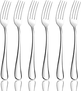 OMGard Salad Fork Sets 6 Piece 18/8 Stainless Steel Flatware 6.7-inch Toddler Dinner Dessert Forks Only Set of 6 Weight Table Silverware Eating Utensils Cutlery Dishwasher Safe Mirror Finished