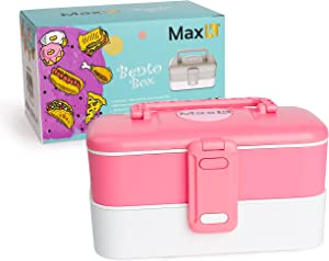 Max K Bento Box with Stainless Steel Cutlery and Carrying Handles, Lunchbox for Adults, Kids and Children, Hot or Cold Food Storage, 2 Trays, Pink