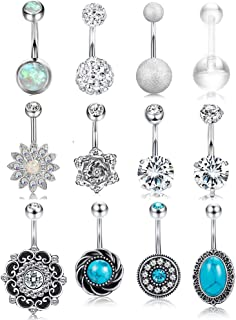 FIBO STEEL 12 Pcs 14G Stainless Steel Belly Button Rings for Women Navel Barbell Body Jewelry Piercing