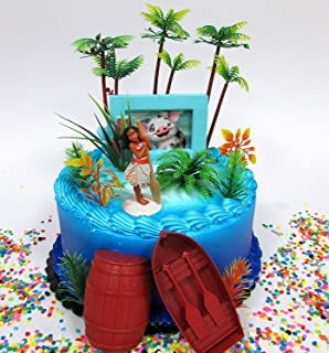 MOANA Tropical Themed Moana Birthday Cake Topper Set Featuring Moana Figure and Decorative Accessories