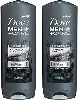 Dove Men + Care Body And Face Wash - Elements - Charcoal + Clay - Net Wt. 18 FL OZ (532 mL) Per Bottle - Pack of 2 Bottles