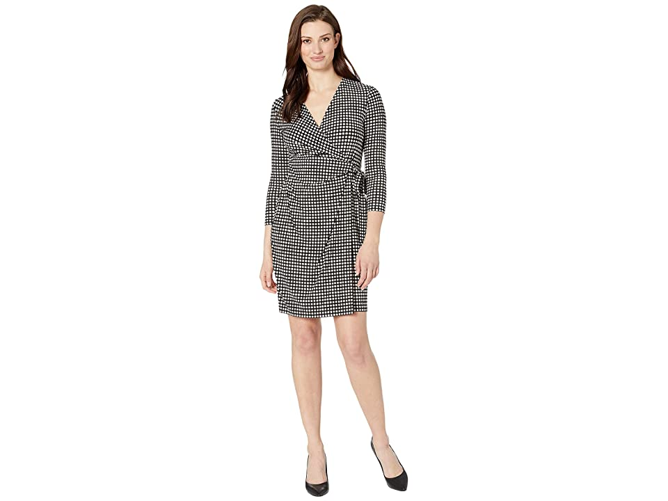 Anne Klein Pearly Dot Printed Ity Classic Wrap Dress (Anne Black/Anne White) Women