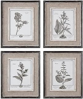 Antique Style Botanical Wall Art Prints   Grey Flowers Burlap Framed
