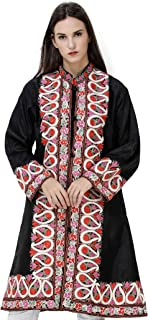 Exotic India Jet-Black Long Kashmiri Jacket with Embroidered Multicolor Flowers and Paisleys