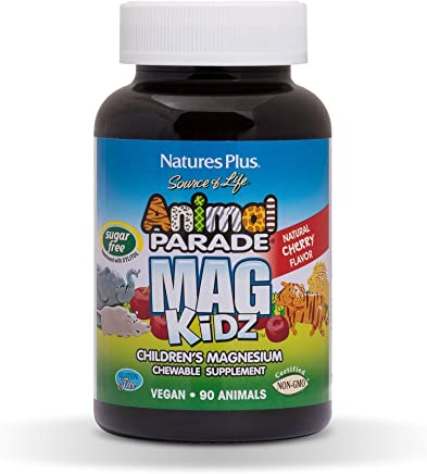 Natures Plus Animal Parade Sugar-Free MagKidz Childrens Magnesium Supplement - Natural Cherry Flavor - 90 Chewable Animal Shaped Tablets - Bone & Muscle Health Support - Gluten Free - 45 Servings