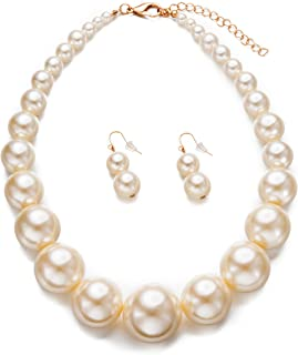 Womens Faux Big Pearl Choker Necklace and Earring Set Fashion Pearl Set